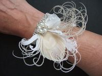 "Peacock Feather Bridal Wrist Corsage Bracelet Cuff in White Cream + Crystals ""Bea"" - Fairytale Wedding. Peacock Wrist Corsage. Bridesmaid Corsage. Bridal Corsage. Brides Corsage."